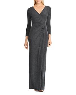 Ralph Lauren - Metallic Faux-Wrap Gown