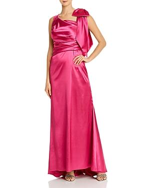 Eliza J Asymmetric Draped Satin Gown-Women