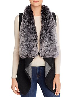 Sioni - Shawl Vest with Faux-Fur Collar