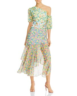 Amur - Jaylah Cold-Shoulder Floral Silk Midi Dress