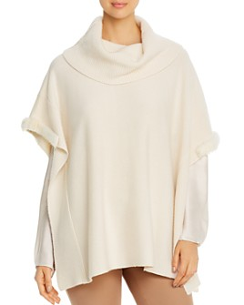 Max & Moi - Line Mink-Trimmed Merino-Wool & Cashmere Poncho