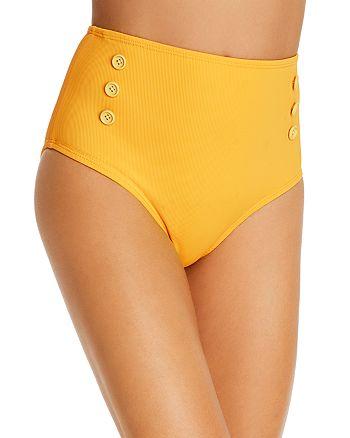 Shoshanna - Ribbed High-Waist Bikini Bottom