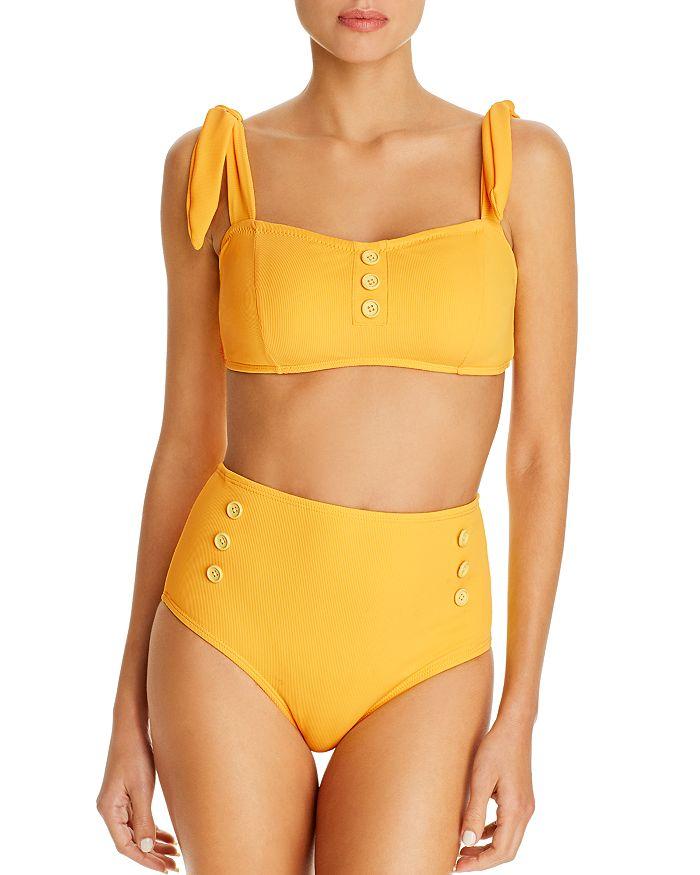 Shoshanna - Ribbed Bikini Top & Ribbed High-Waist Bikini Bottom