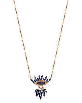 "Kismet By Milka - 14K Rose Gold Blue Sapphire 10th Eye Regina Pendant Necklace, 18"""