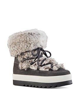 Cougar - Women's Waterproof Fur-Trim Platform Ankle Boots