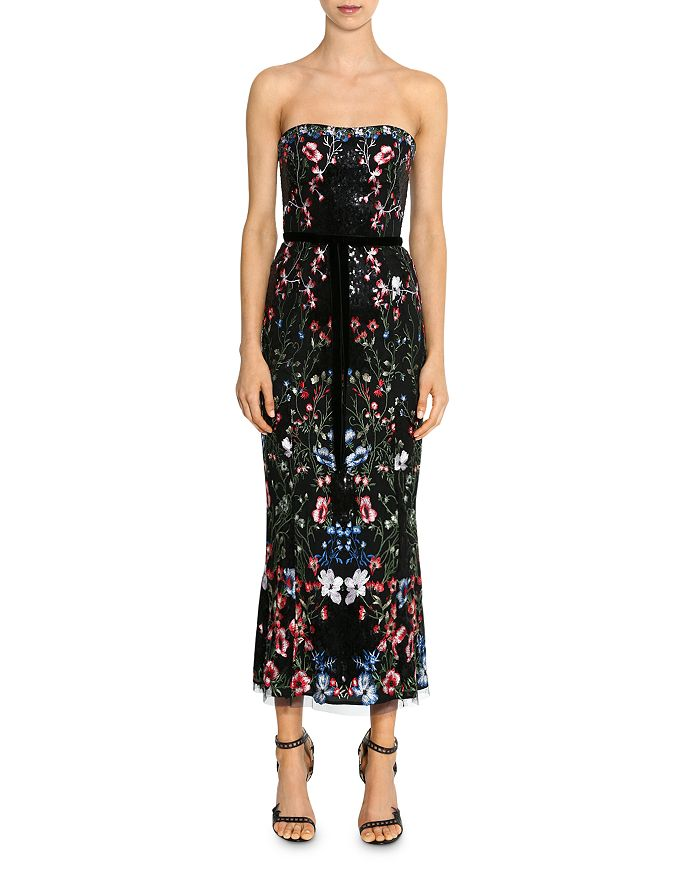 MARCHESA NOTTE - Embroidered Strapless Floral Midi Dress