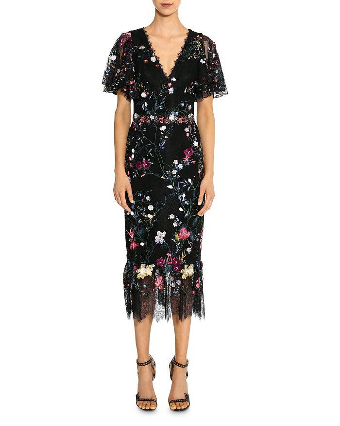 MARCHESA NOTTE - Embroidered Floral Flutter-Sleeve Sheath Dress