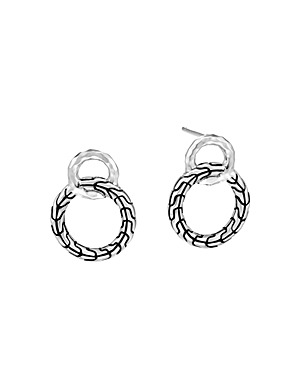 John Hardy Sterling Silver Classic Chain Hammered Interlinking Drop Earrings