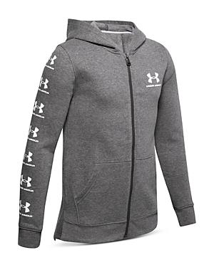 Under Armour Boys' Rival Logo-Sleeve Zip-Up Hoodie - Big Kid