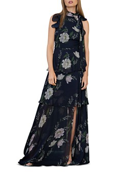 ML Monique Lhuillier - Ruffled Floral Gown