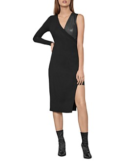 BCBGMAXAZRIA - Asymmetric Jersey & Faux Leather Dress