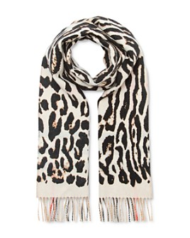 Burberry - Giant Check & Leopard-Print Cashmere Scarf
