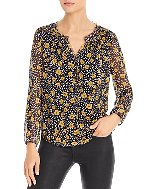 Raw-Edge Floral Top