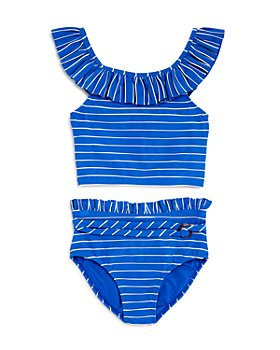 Habitual Kids - Girls' Briar Textured Stripe Ruffled Two-Piece Swimsuit - Little Kid, Big Kid