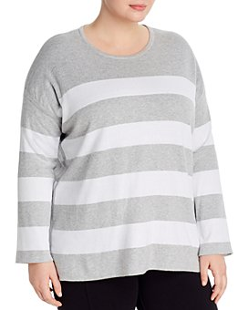 Eileen Fisher Plus - Striped Organic Cotton Sweater