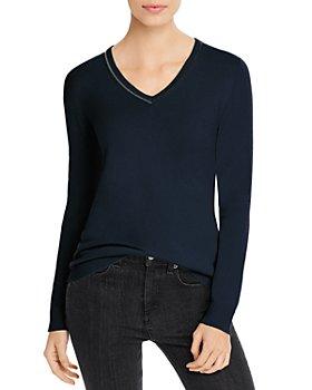 Fabiana Filippi - Brass-Trimmed Cashmere V-Neck Sweater