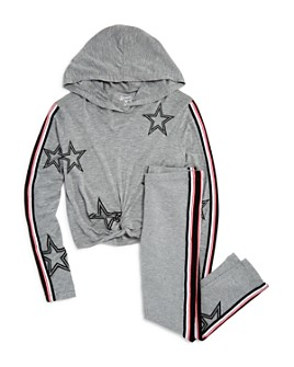 Flowers by Zoe - Girls' Star Print Hooded Tee & Striped Star Leggings - Big Kid
