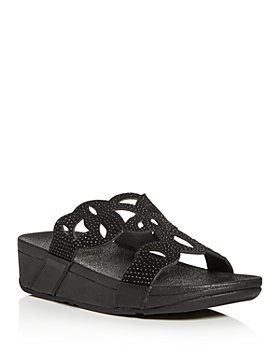 FitFlop - Women's Elora Crystal Wedge Slide Sandals