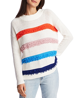 Image of 1.state Cotton Fringe-Stripe Sweater