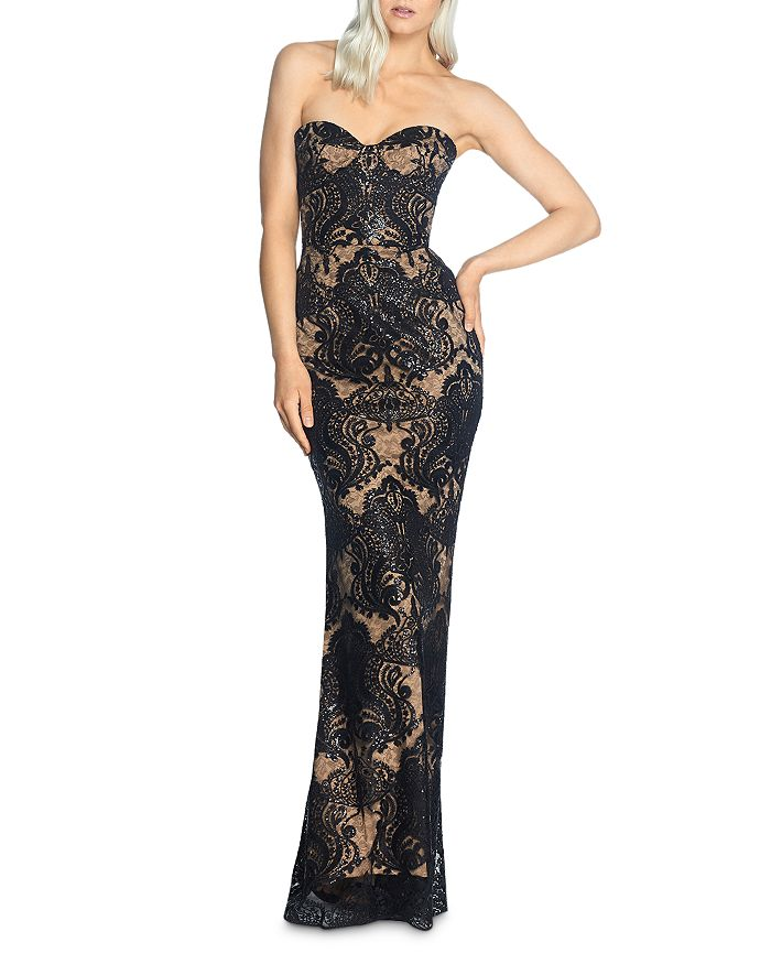 Dress the Population - Nicolette Strapless Lace Mermaid Gown