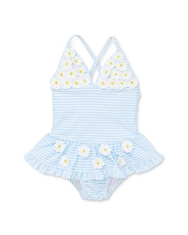 Little Me - Girls' Daisy Appliqué Striped One-Piece Swimsuit - Baby