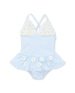 Little Me Girls\\\' Daisy Applique Striped One-Piece Swimsuit - Baby-Kids