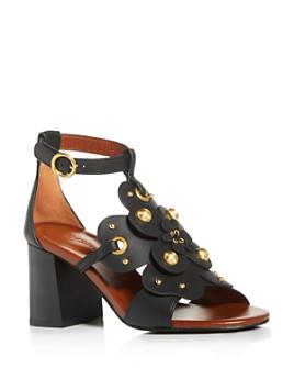 See by Chloé - Women's Haya Floral Stud Block-Heel Sandals