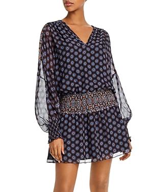 Ramy Brook Davy Medallion Print Silk Dress