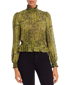 Lucy Paris - Snake Print Smocked Top