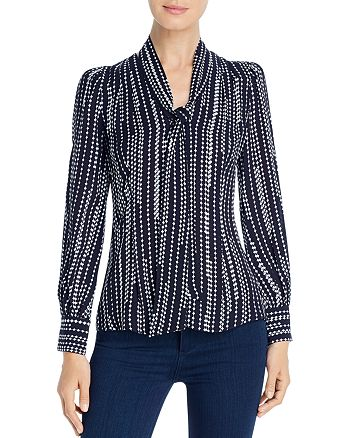 Elie Tahari - Percy Printed Tie-Neck Blouse