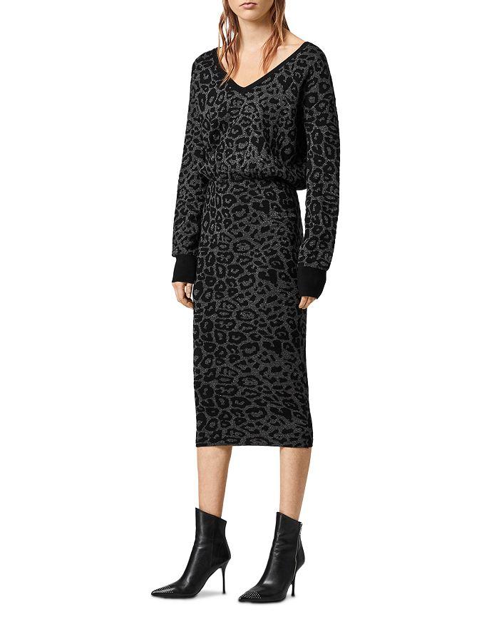 Allsaints Roxanne Metallic Leopard Jacquard Sweater Dress