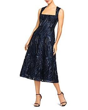 Aidan Mattox - Sequin Fit-and-Flare Midi Dress