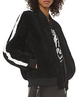 MICHAEL Michael Kors - Real Lamb Shearling Striped-Sleeve Bomber Jacket