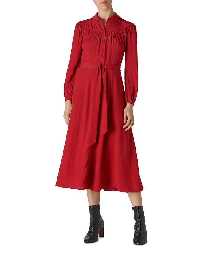 Whistles - Smocked-Detail Shirt Dress