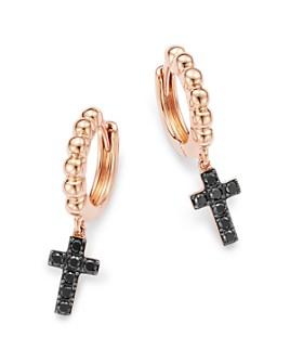 Bloomingdale's - Black Diamond Cross Huggie Hoop Earrings in 14K Rose Gold,  0.17 ct. t.w. - 100% Exclusive