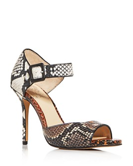 VINCE CAMUTO - Women's Sessen Mixed Snake-Embossed High-Heel Sandals