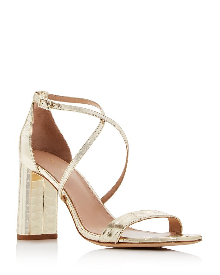 Via Spiga - Women's Sabinne Snake-Embossed Block-Heel Sandals