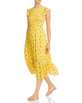Lost and Wander - Mango Tango Smocked Midi Dress
