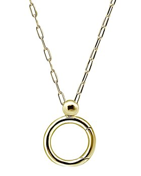 """AQUA - Open Circle Charm-Holder Pendant Necklace in 18K Gold-Plated Sterling Silver or Sterling Silver, 32"""" - 100% Exclusive"""