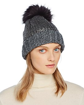 AQUA - Fur Pom-Pom Metallic Beanie - 100% Exclusive