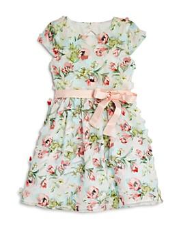 US Angels - Girls' Cap-Sleeve Floral Appliqué Dress - Little Kid