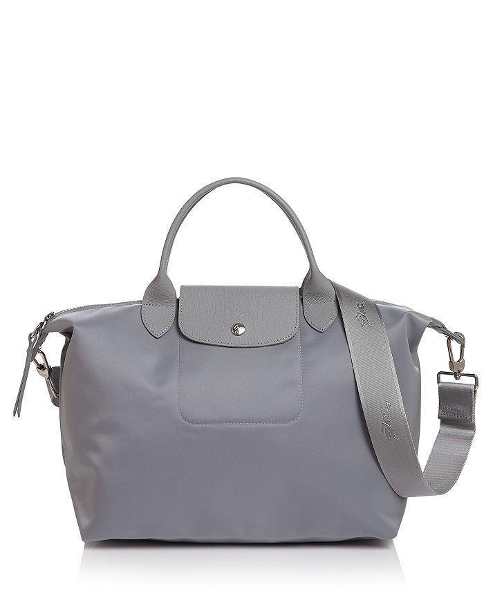 Le Pliage Neo Medium Nylon Shoulder Bag In Cement/silver