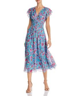 Shoshanna - Zirara Metallic-Floral Silk-Blend Dress