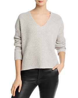Theory - Chunky Ribbed Wool & Cashmere V-Neck Sweater