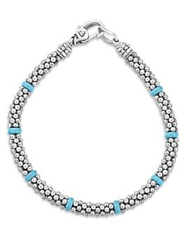 LAGOS - Sterling Silver Caviar Blue Ceramic Beaded Bracelet