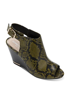 Kenneth Cole - Women's Merrick Snake-Print Wedge Heel Sandals