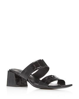 Sigerson Morrison - Women's Elda Croc-Embossed Block-Heel Slide Sandals