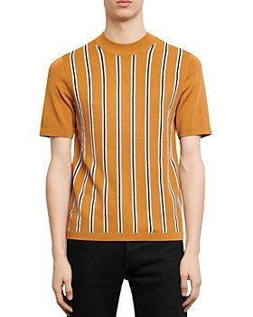 Sandro - Simon Striped-Front Short-Sleeved Sweater