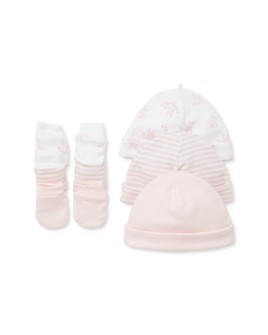 Little Me - Girls' Bunny Mittens & Hat Set, 6 Piece - Baby