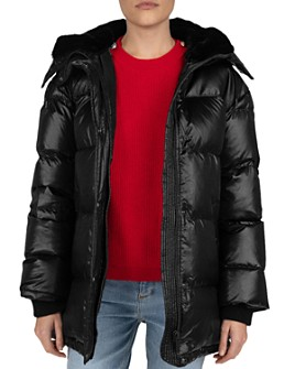 The Kooples - Quilted Faux-Fur Lined Hood Down Coat